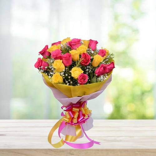 10 Pink and 10 Yellow Rose Bunch