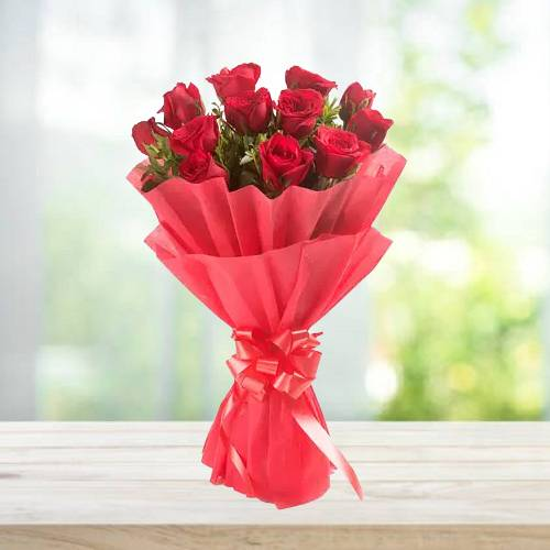 12 Red Roses Stylish Bouquet