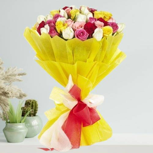 20 Mix Roses Bunch with Fancy Paper Packing