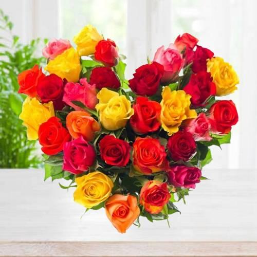 30 Mix Roses Heart Shape Bouquet