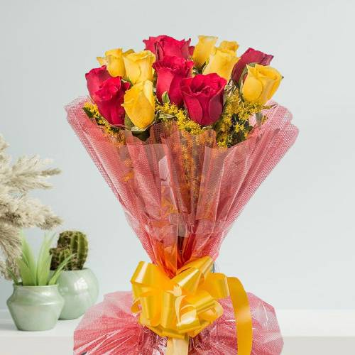 Beautiful 12 Red and Yellow Roses Bunch