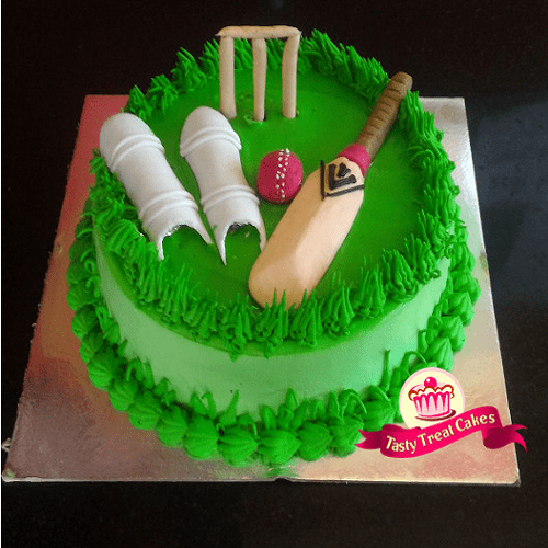 Cricket Theme Founded Cake