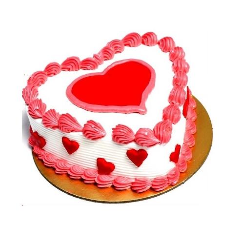 Delicious Strawberry Heart Shape Love Cake