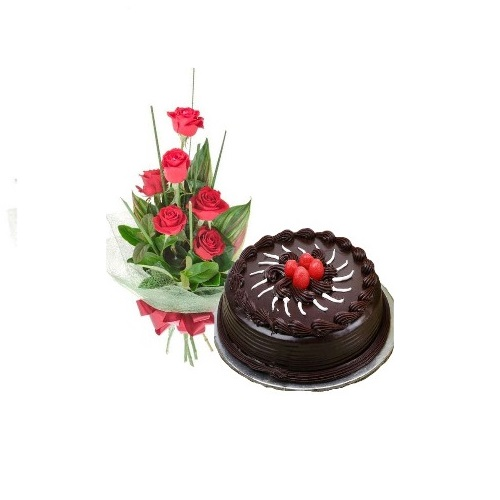Half Dark Chocolate Truffle Cake With 6 Red Rose Bunch