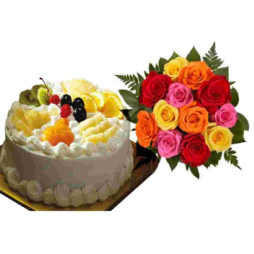 Yummy Fresh Fruit Cake with 10 Mix Roses Bunch