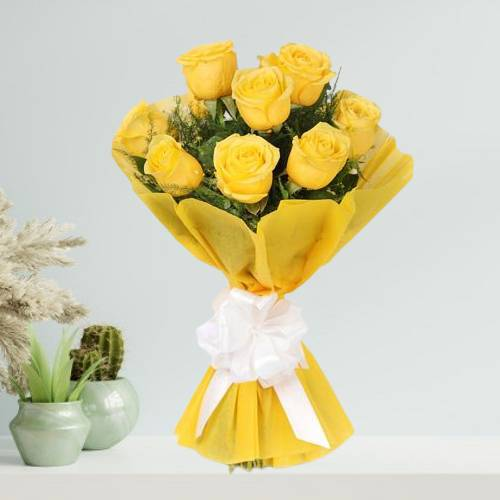 Hand Tied Yellow Roses Bouquet