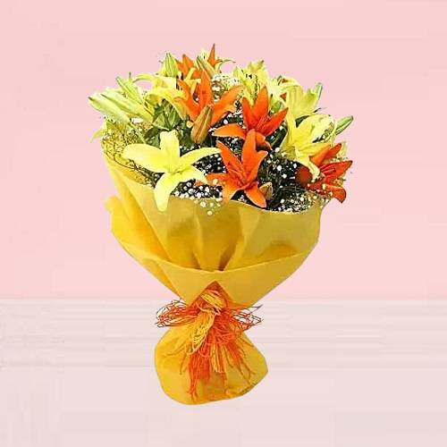 Mixed Vibrant Yellow and Orange Lilies Bouquet
