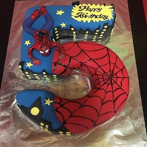 Fondant Spiderman Design Birthday Cake