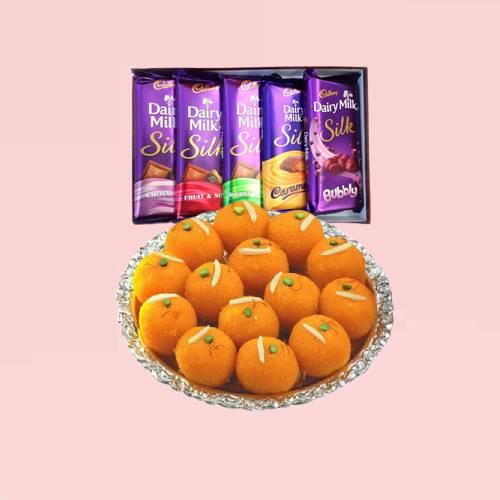 Motichoor Ladoo with Cadbury Silk Chocolate