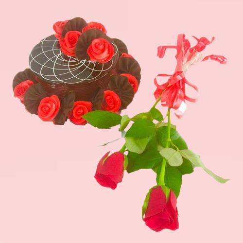 Special Love Delight Chocolate Rose Cake