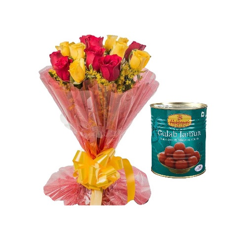6 Red Rose and 6 Yellow Rose Stylish Bouquet with Gulab Jamun