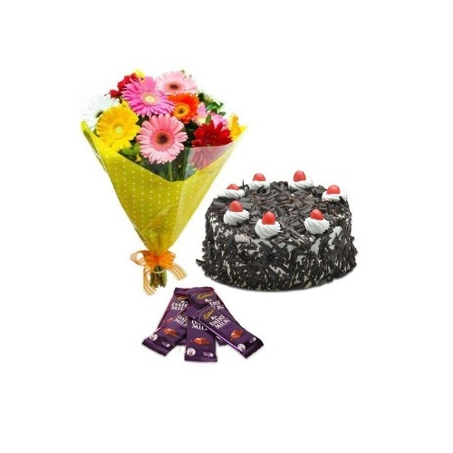 Black Forest Cake Half Kg with Mix Gerberas Bouquet and Chocolate