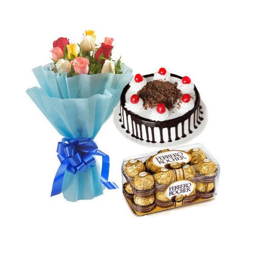 Black Forest Cake Half Kg with Mix Rose and Ferrero Rocher Chocolate
