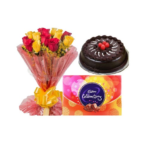 Chocolate Cake Half Kg and 12 Mix Rose with Celebration Pack