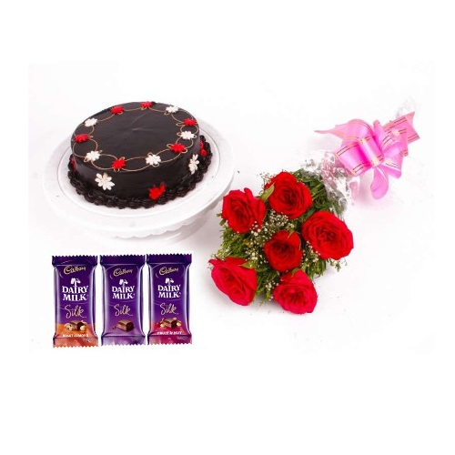 Delicious Chocolate Cake Half Kg and 6 Red Rose with Silk Chocolate