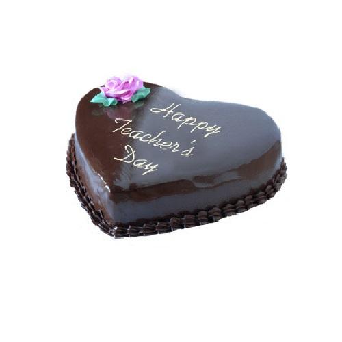 Teachers Day Special Heart Shape Chocolate Cake