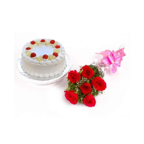 Half kg Pineapple Cake and 6 Red Rose Bunch