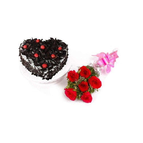 Heart Shape Black Forest Cake and 6 Red Rose Bouquet