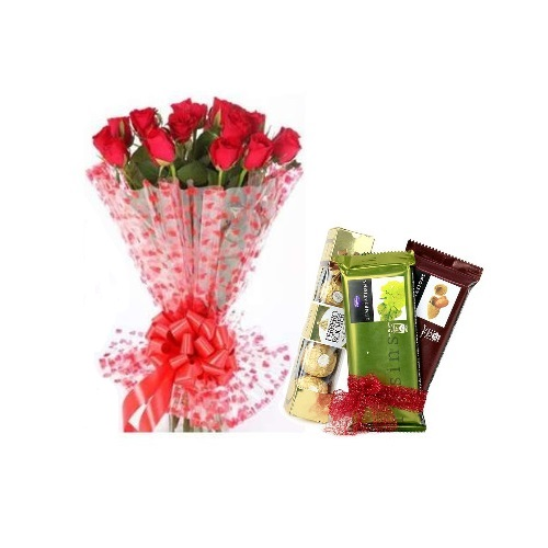 Red Rose 12 Stylish Bouquet and Chocolate