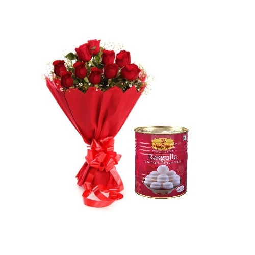 Red Rose 12 Stylish Bouquet with Rasgulla