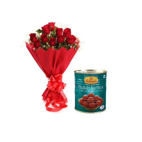 Red Rose 12 Stylish Bouquet with Gulab Jamun
