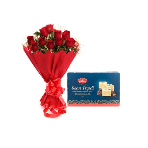 Red Rose 12 Stylish Bouquet with Soan Papdi