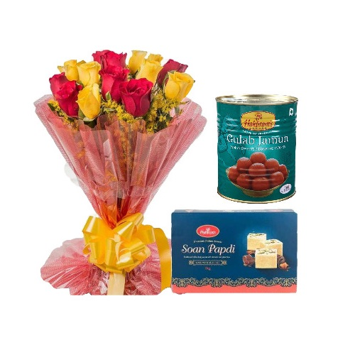 Red and Yellow Flowers Bunch with Sweets