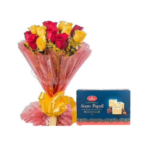 Red and Yellow Rose Stylish Bouquet with Soan Papdi