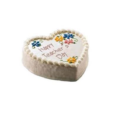 Teachers Day Special Heart Shape Vanilla Cake
