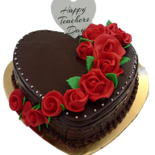 Heart Shape Chocolate Cake Teachers Day Special