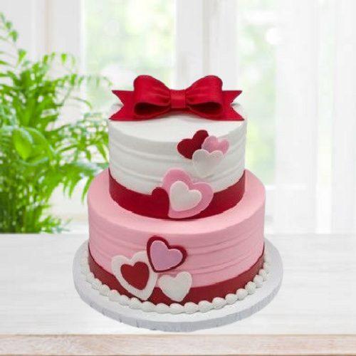 2 Tier Love Delight Fondant Delicious Cakes