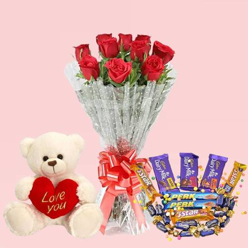 Beautiful 10 Red Roses Bouquet and Teddy Bear with Chocolate