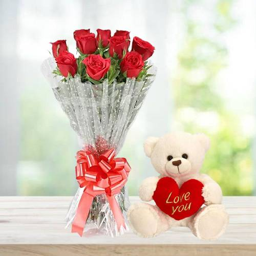 Beautiful 10 Red Roses Bouquet and Teddy Bear