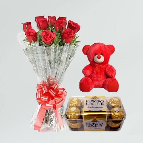 Beautiful 10 Red Roses Bouquet and Teddy Bear with Ferrero Rocher Chocolate