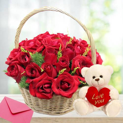 Beautiful Arrangement Red Rose Basket with Teddy Bear