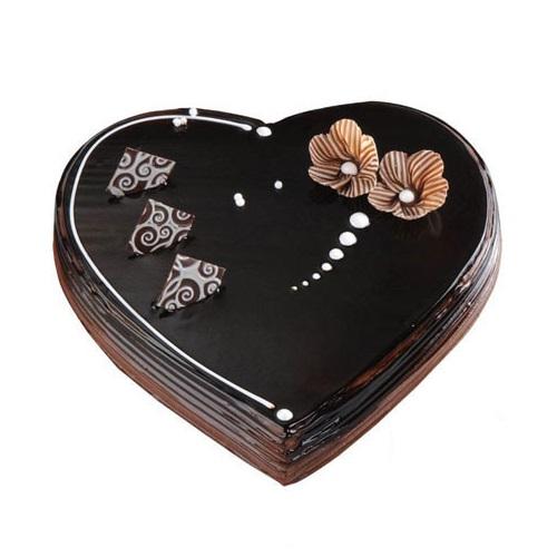 Chocolate Truffle Anniversary Heart Shape Cake