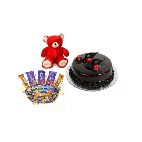Delight Chocolate Cake Half kg and Teddy Bear with Chocolate