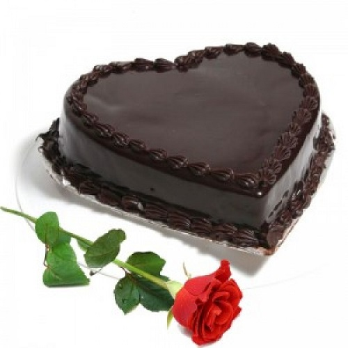 Heart Shape Chocolate Cake and 1 Red Rose