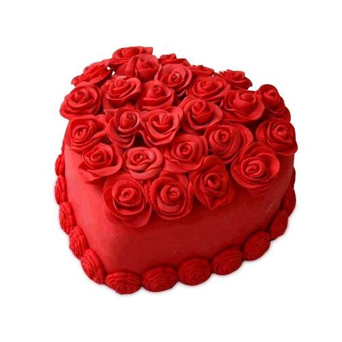 Heart Shape Red Rose Cake