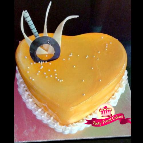 Mango Heart Shape Cake