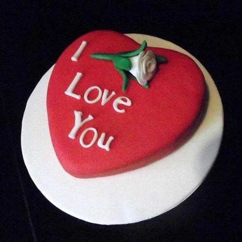 Red Fondant I love You Heart Shaped Cake