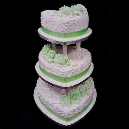Three Tier Heart Shape Floral Cake