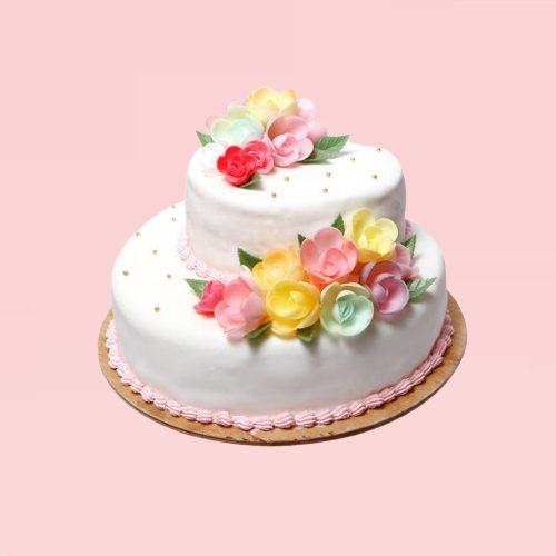 Two Tier Floral Vanilla Cake