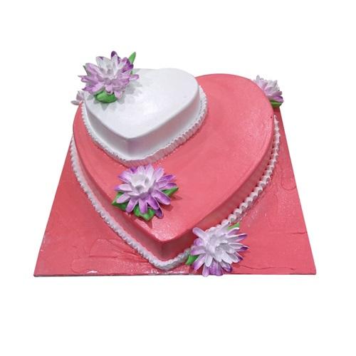 Two Tier Heart Shape Cake