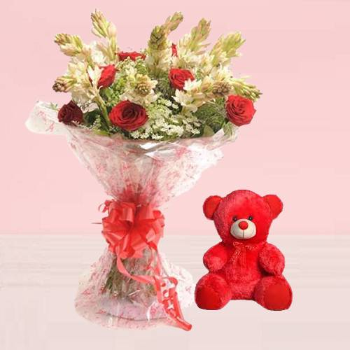 Beautiful Mix Rajnigandha Rose Bouquet with Red Cute Teddy