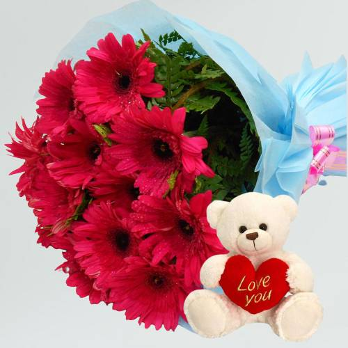 Beautiful Red Gerberas Bouquet with Love Cute Teddy