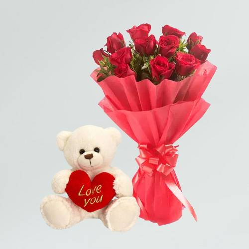 Beautiful Red Rose Bouquet with Love Cute Teddy