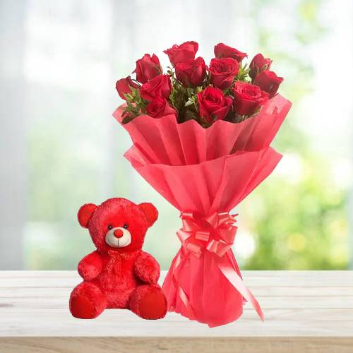 Beautiful Red Rose Bouquet with Red Cute Teddy