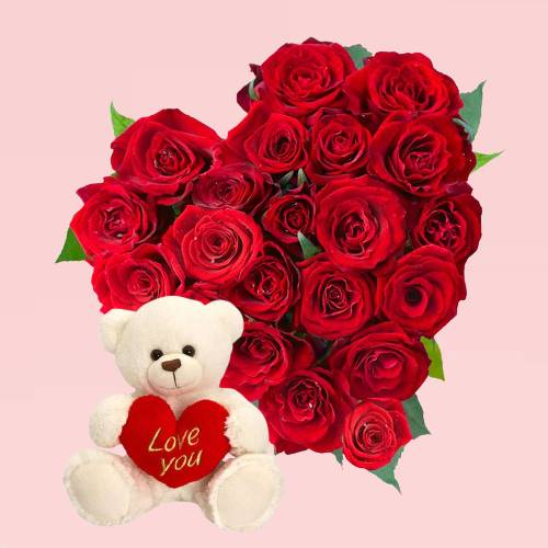 Beautiful Red Roses Heart Shape Bouquet with Love Cute Teddy
