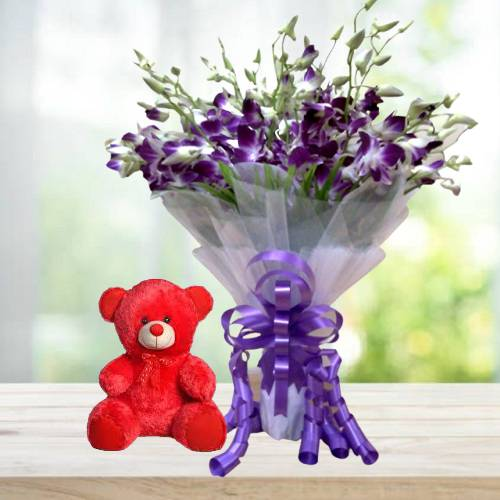 Delightful Blue Purple Orchids Hand Bunch with Red Cute Teddy